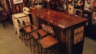 rustic bar made out of antique door for bar top and rusted corrugated ...