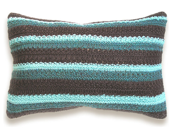 Knit Melange Pillow Cover In Dark Chocolate Brown Pale Aqua Teal Navy Blue 12 x -