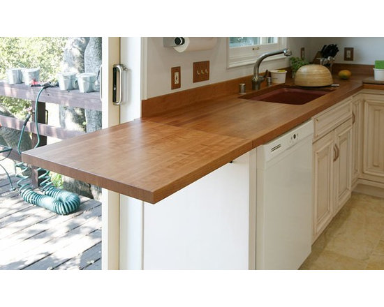 Cherry Wood Countertop with Drain Boards and Sink -