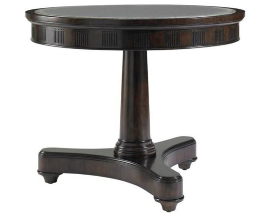 Stanley Furniture - Charleston Regency-Kiawah Lamp Table - The Kiawah Lamp Table marries the Regency glamour of a mono-pedestal base with the patina of an antiqued mirror top. This versatile table works well in the living room or the bedroom.