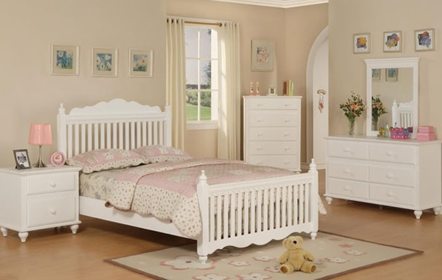 pure white wood 4 pieces kids twin full bedroom set modern bedroom