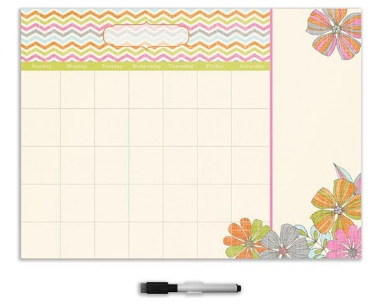 """Brewster Home Fashions - St Tropez Monthly Calendar Decal With Notes - With a design inspired by the jet-setting seaside city in France the St. Tropez calendar and message board duo provides a beautiful space to keep track of your schedule. This dry-erase decal is as lovely as it is useful adorned in island-chic tropical flowers and trendy chevron stripes. St. Tropez calendar measures 13"""" x 17.75"""" and includes a dry-erase marker. WallPops are repositionable and totally removable."""