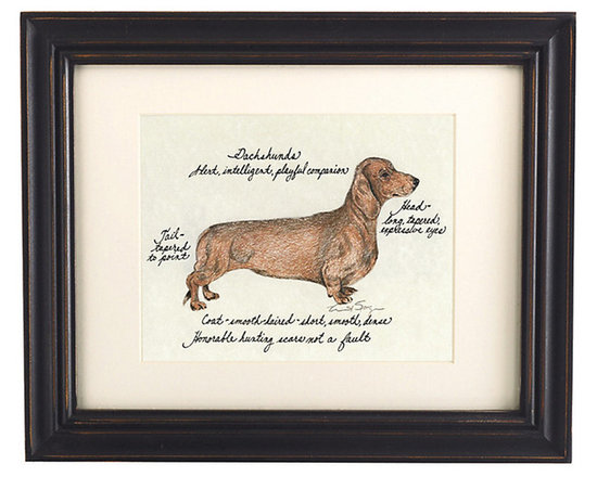 Ballard Designs - Dachshund Dog Print - Our Dachshund Dog Print was created by the dog-loving, husband and wife team of Vivienne and Sponge. The Dachshund is known for being alert, intelligent and playful. Each Dachshund portrait is hand colored and embellished with notes on the breed's special characteristics. Printed on antiqued parchment, signed by the artists and framed in antique black wood with eggshell mat and glass front. Dachshund Dog Print features:Hand colored & signed . Printed on parchment. Eggshell mat. Antique black frame