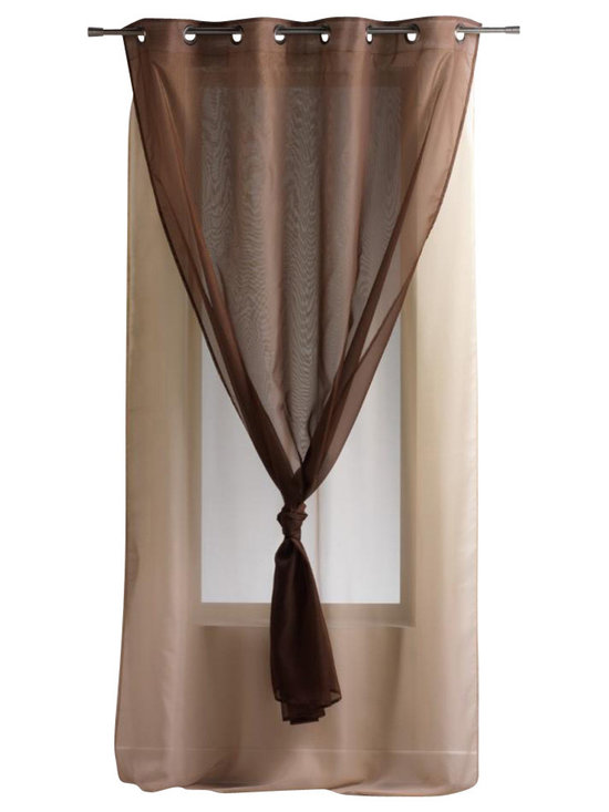 Evideco - Solid Double Sheer Grommet Curtain Panels Robin Brown/Brown Glaze - This lovely double layered sheer window curtains panel ROBIN with grommets is made of two sheer panels and are stitched together at top only, to create a double-layered effect. This brown and brown glaze double-layer voile window curtain panel, made of 10
