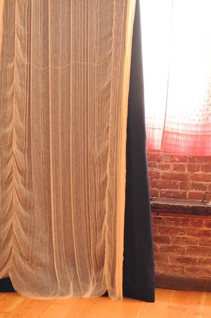 velvet + gauzey curtains eclectic
