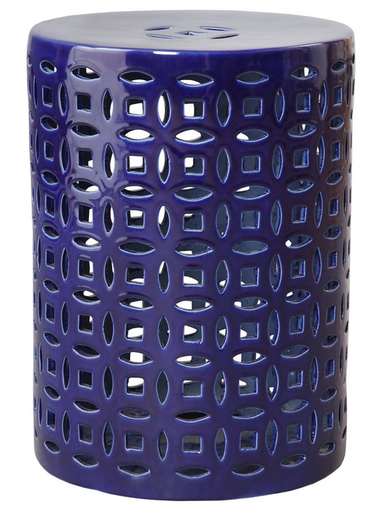 Linked Fortune Garden Seat - The unique cutout style of this garden stool adds an extra special touch that makes it stand apart from the rest. The intricate detail work and rich blue glaze complete this beautiful piece that would be beautiful in any room in your home.