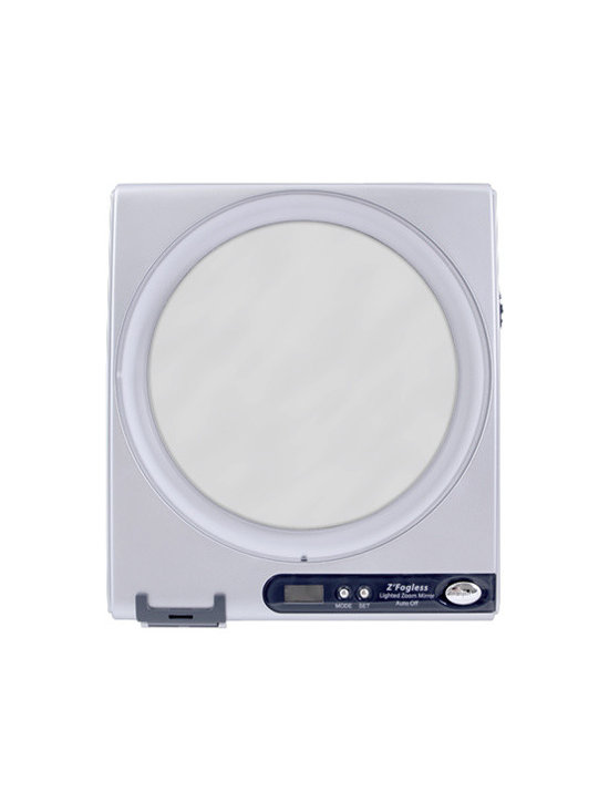 Zadro - Fogless LED Light Shower Mirror w/ Clock - Zadro's Z'Fogless™ Adjustable Magnification LED Lighted Mirror features a patented hydrophobic coating to repel water and keep it completely fog-free no matter how steamy the environment. Plus, its unique adjustable magnification cycles between 1X and 5X simply by rotating the mirror head. The 1X magnification is great for all-around viewing needs while the 5X magnification is perfect for getting up close and personal when shaving smaller, sensitive areas of your face.