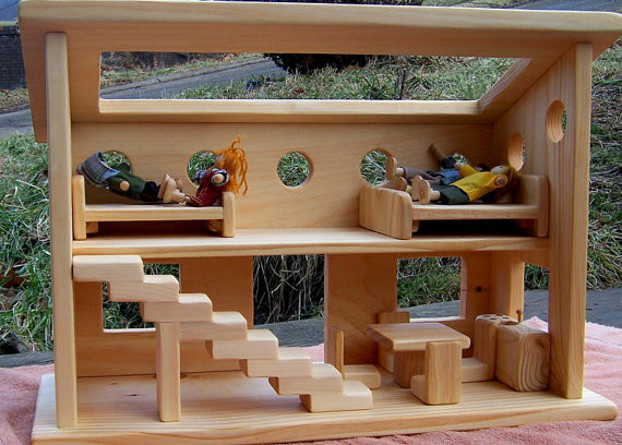 Wooden Dollhouse by Mama Made Them - Contemporary - Kids Toys And Games - by Etsy