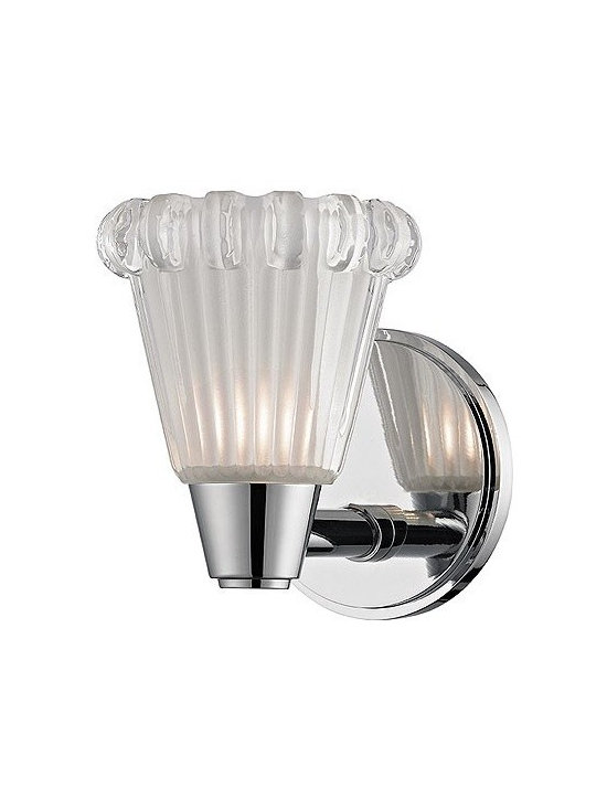 Hudson Valley Lighting - Hudson Valley Lighting   Varick Wall Sconce - Design by Hudson Valley, 2014.Composed, vintage styling defines the Varick Wall Sconce. Its custom glass shade is crowned with a thick ring of glimmering facets. Hudson Valley etches the pressed shade's fluted body for soft diffusion, leaving the faceted cornice clear to enhance its refractive brilliance. Socket ring shade attachment. Hard-wired.