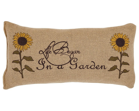 """VHC Brands - Burlap Natural Life Began In A Garden Pillow - This burlap pillow measures 7""""x13"""" and is 100% cotton woven into a """"burlap"""" fabric for a natural look and feel. The front features the saying """"Life Began in a Garden"""" stenciled in chocolate brown with sunflowers of olive and gold. Coordinates with the Sunflower collection. Spot clean with a damp cloth."""