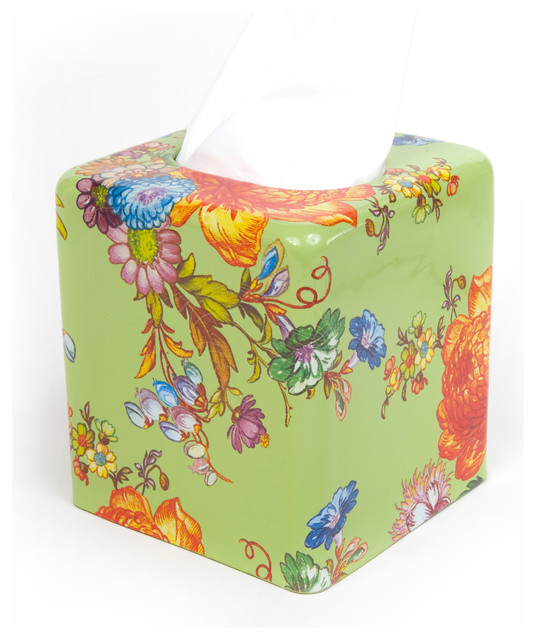 Flower Market Enamel Tissue Box Cover - Green | MacKenzie-Childs eclectic-bathroom-accessories