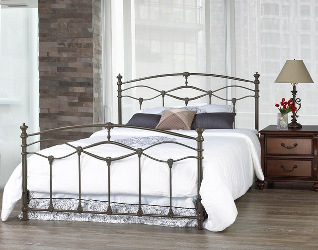 Iron Bed Frames King: Romantica French Grey Double Wrought Iron Bed Frame