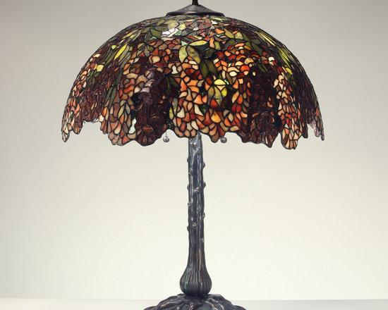 The Secret Garden (TSG 1895 USA) - 22-inch Lithe & Lovely Laburnum (Red/Green) Gemstone Tiffany-Style Table Lamp - Gemstone Tiffany-Style Lampshade