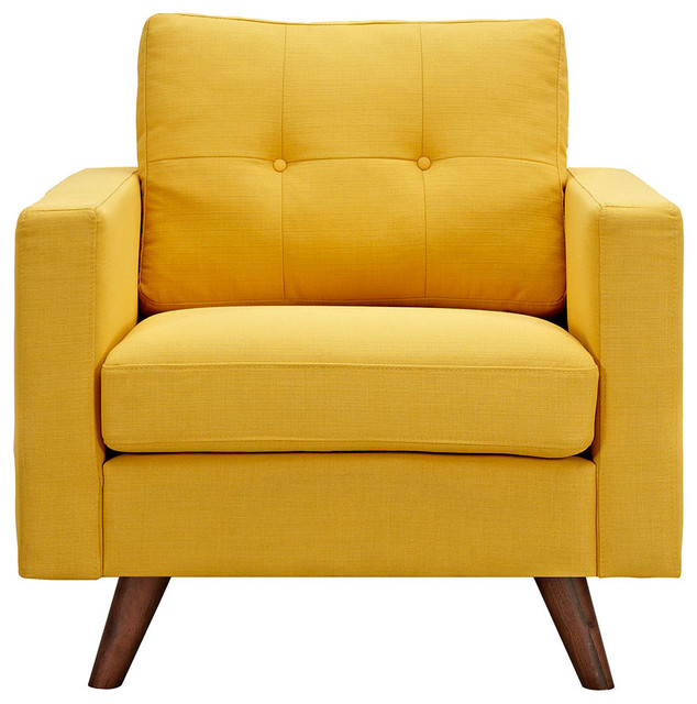 Papaya Yellow Uma Armchair Dark Walnut Wood Color