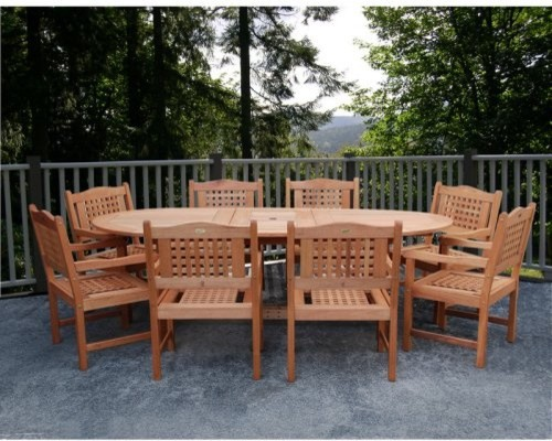 Porto Grand Extendable Eucalyptus Dining Set - Seats 8