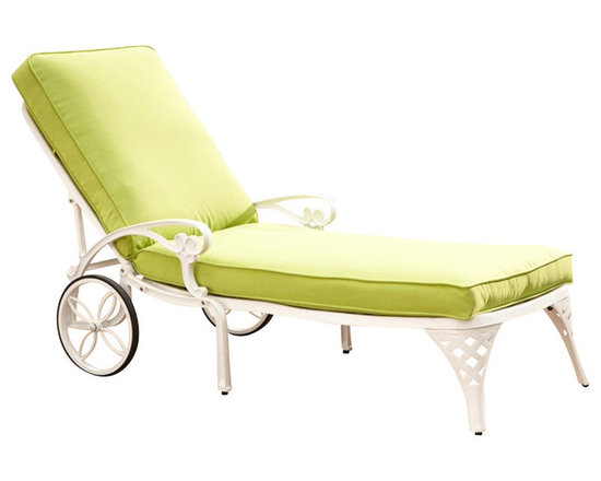 Home Styles - Home Styles Biscayne White Chaise Lounge Chair Green Apple Cushion - Home Styles - Patio Lounges - 5552831 - Create an intimate conversation area with Home Styles� Biscayne Chaise Lounge Chair.