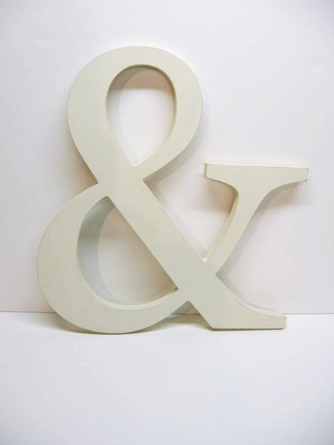 Creamy White Wood Wall Decor Letter AMPERSAND eclectic-home-decor