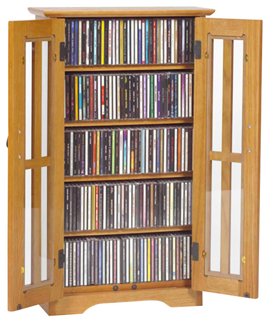 Leslie Dame CD/DVD Wall Hanging Mission Glass Multimedia Oak Cabinet - Traditional - Media ...