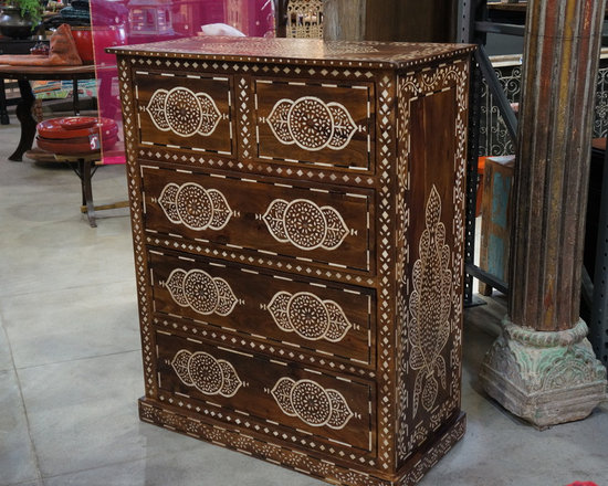 Bone inlaid chest of drawers - Vintage teak chest of drawers with intricate bone inlay.