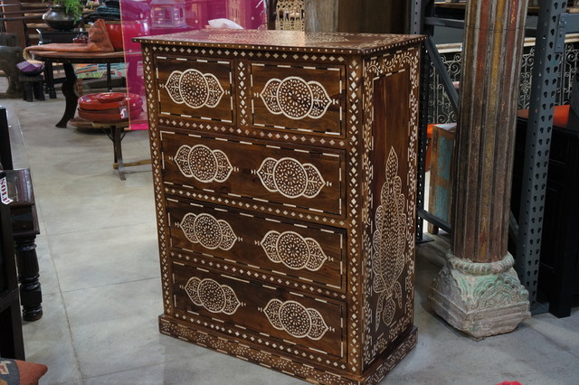 Bone inlaid chest of drawers mediterranean-buffets-and-sideboards