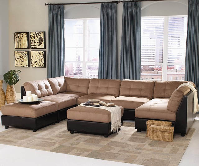 Claude Contemporary Two Tone Sectional Sofa by Coaster contemporary sectional sofas