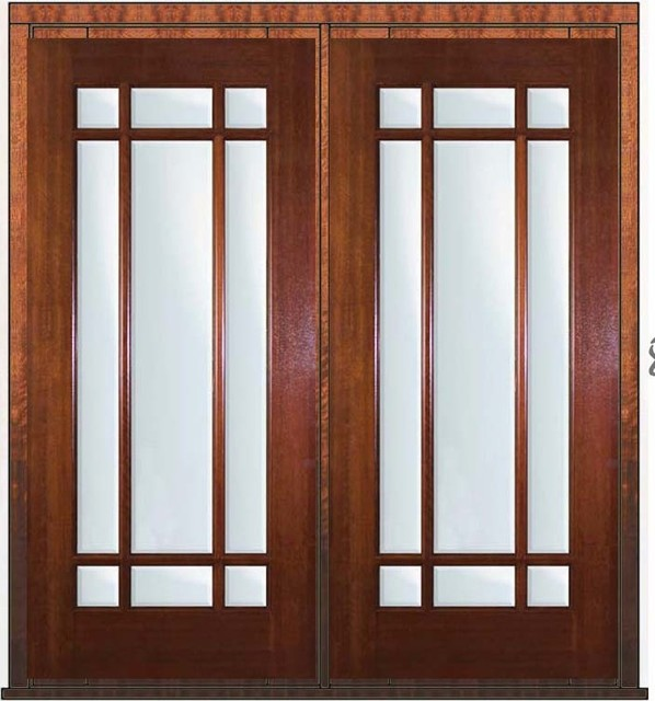 pre hung french double door 80 mahogany 9 lite marginal