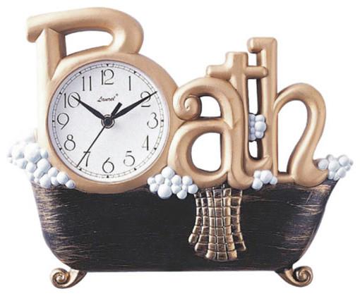 Gold Novelty Bath Wall Clock Modern Clocks By Bellacor