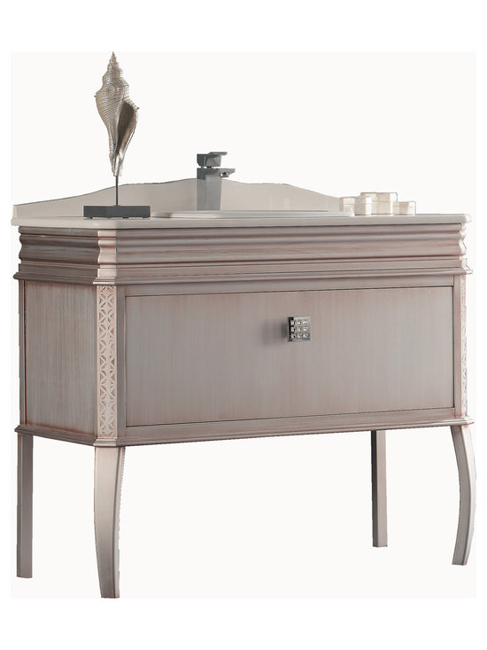 "Macral London 40"" bath vanity. Antique silver. -"