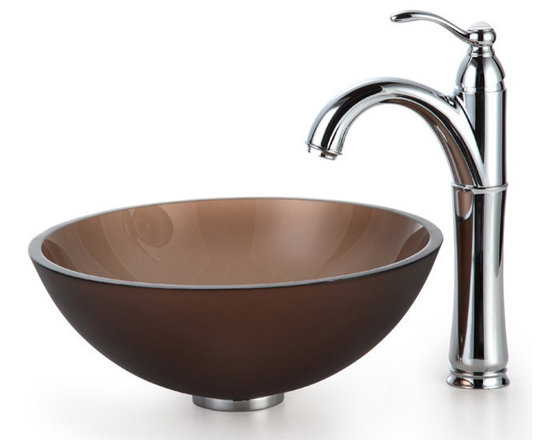 """Kraus - Kraus C-GV-103FR-14-12mm-1005CH 14"""" Glass Vessel Sink and Riviera Faucet - Add a touch of elegance to your bathroom with a glass sink combo from Kraus"""