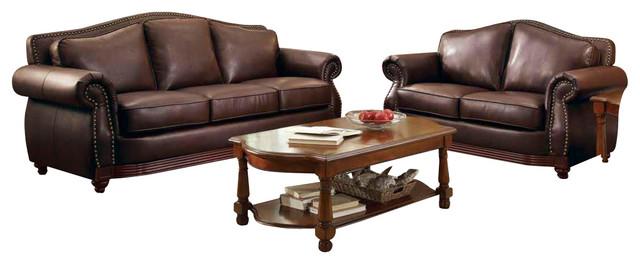 appealing traditional leather living room set | Homelegance Midwood 3-Piece Living Room Set in Dark Brown ...