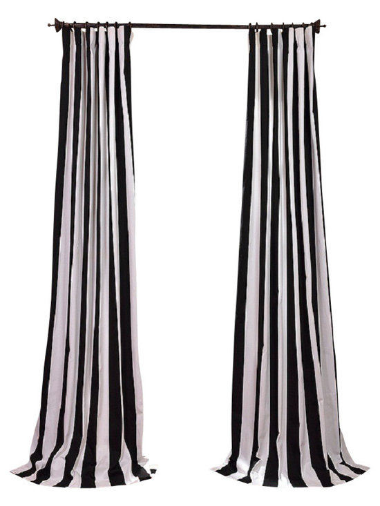 Exclusive Fabrics & Furnishings, LLC - Cabana Black Printed Cotton Curtain - Window dressing needn't be a formal affair. These awning stripe curtains offer you just the right stroke of color and striking simplicity to compliment your furnishings — from cottage chic to a more modern mode. Simply sit back and enjoy the view.