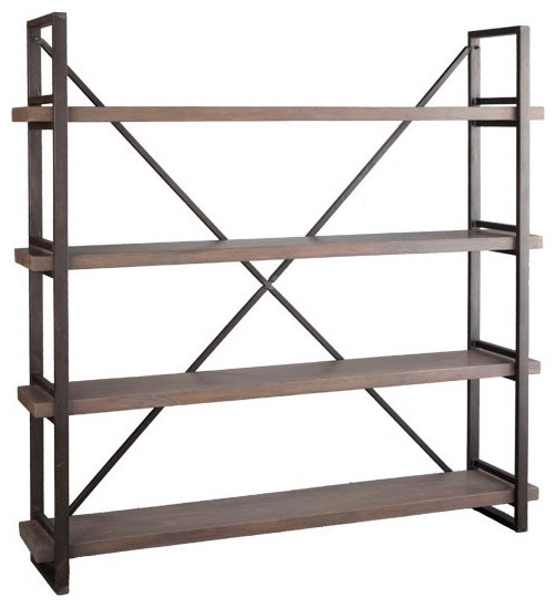 Wood and Iron X-Back Bookcase - Eclectic - Bookcases - by Wisteria
