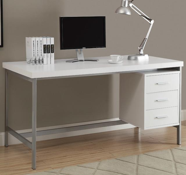 White Hollow-Core/Silver Metal 60in.L Office Desk