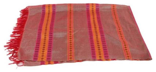 SOLD OUT- Hand Woven Cactus Fiber Table Runner in Red/Orange - $340 Est. Retail rustic-tablecloths