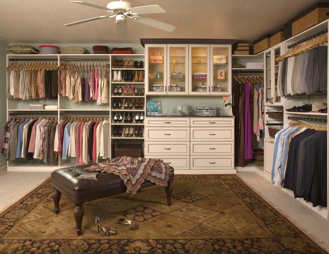 Custom walk in closet organizers antique white for Walk in closet planner