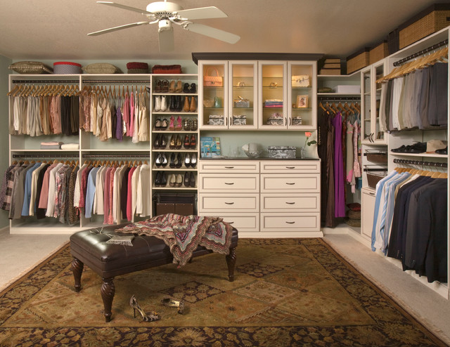 Custom Walk-In Closet Organizers: Antique White