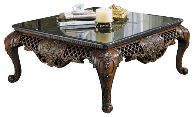 Homelegance Gladstone 3 Piece Square Coffee Table Set With Marble Top Traditional Coffee