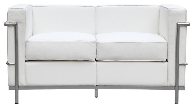 Petit Loveseat In Leather by Lemoderno, White Leather modern-loveseats