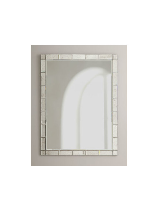 """Horchow - Bordered Mirror - Shiny rectangles frame a simple looking glass, creating a classically styled mirror. Made of wood composite and mirrored glass. 31""""W x 1""""D x 41""""T. Imported. Boxed weight, approximately 40 lbs. Please note that this item may require additional del..."""