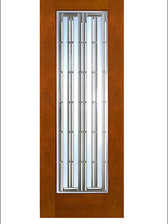 """AAW Inc. - Contemporary Entry Door Model NW-1672 - Model NW-1672 from our New World Collection. Door is solid Mahogany, 2-1/4"""" thick with a unique glass pattern."""