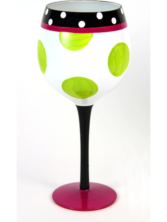 Hand Painted Polka Dot Pattern Wine Glass, Holds 18 Oz - In A Gift Box - Hand Painted Wine Glass is perfect for your wine party, girls night, festive gathering and when you are enjoying a glass of wine at home.