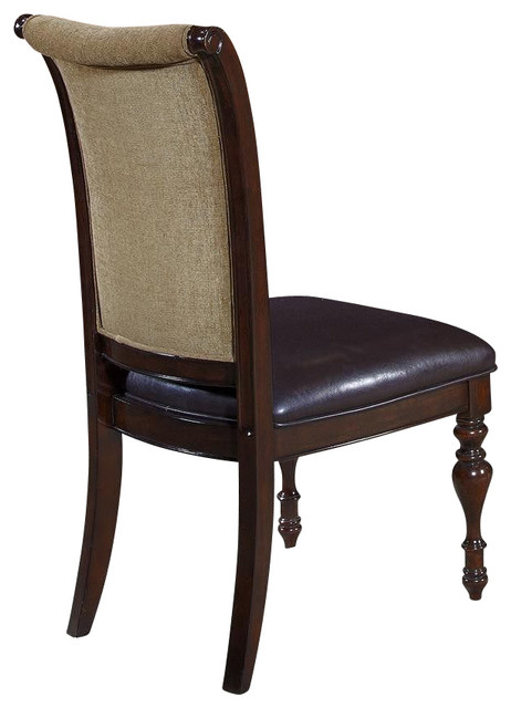 Liberty Furniture Kingston Plantation Upholstered Side Chair in Cognac, Dark Woo traditional-dining-chairs