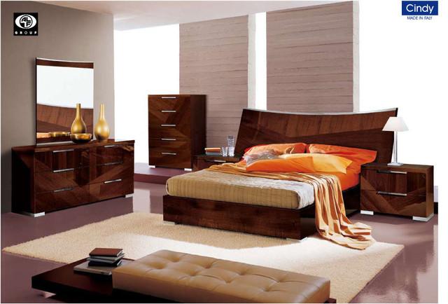 cindy bed modern bedroom set in walnut king size modern beds
