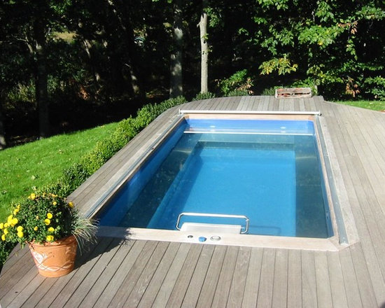 Original Endless Pools® - The curved corners and gray hues of the deck lend a quiet air to this Endless Pool installation. It's a perfectly simple backyard escape for fun and fitness.