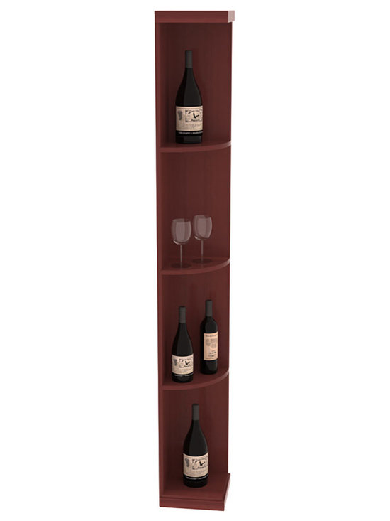Quarter Round Wine Display in Redwood with Cherry Stain + Satin Finish - Highly decorative Quarter Round Wine Displays are the perfect solution to racking around corners. Designed with a priority on functionality, these wine storage units are excellent as end caps to walls of wine racking or as standalone shelving.