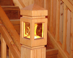 Stair Newel Post with Built-In Lighting rustic