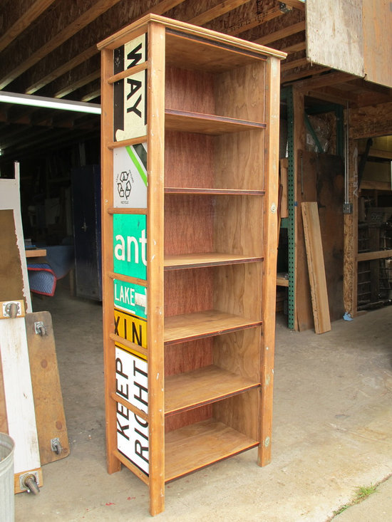 Examples of available inventory - bryan appleton, open cabinet made from vintage wooden painters ladders,sides of old traffic signs.