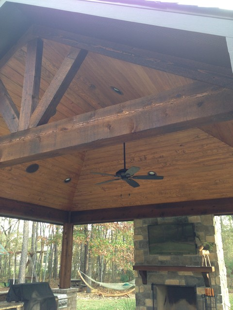 Cedar Sunburst Vaulted Ceiling Isokern Fireplace And Outdoor Kitchen