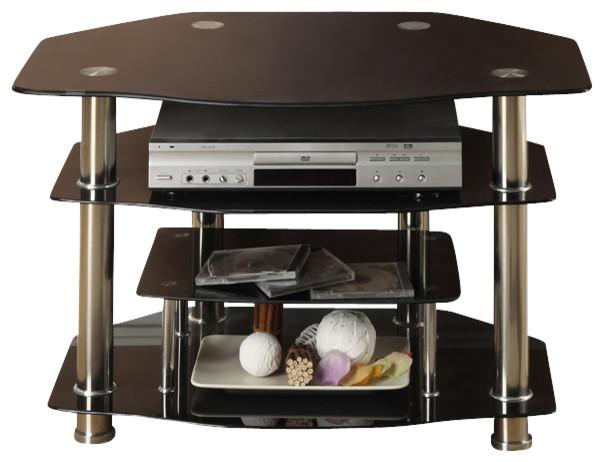"Black Glass Shiny Metal 3 Shelves 32"" Small TV Stand Entertainment Media Console - Contemporary ..."