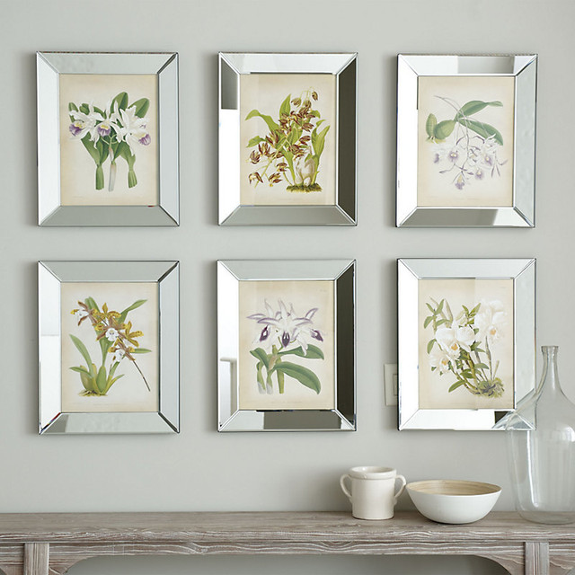 Wall Art In Mirror Frame : Orchids in mirror frame contemporary prints and
